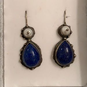 Jewelry - Vintage sterling silver lapis and pearl earrings
